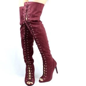 Open Toe Lace up Thigh high over the knee Boots